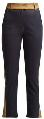 Palmer Harding Palmer//Harding Palmer//harding - Striped Stretch Cotton Twill Cropped Trousers - Womens - Navy
