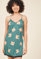 MSP011SK As evening draws near, you have a choice to make - head out, or slip into these comfy cat nightgown? Reviewing the muted blue-green hue, black lace trimmings, and orange kitty visages of these ModCloth-exclusive pajamas, you decide that quirky loungewear