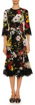 Dolce & Gabbana Bouquet-Print 1/2-Sleeve Cocktail Dress, Black Pattern