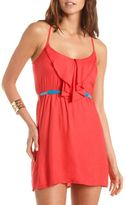 Charlotte Russe Belted Ruffle Bust Woven Dress