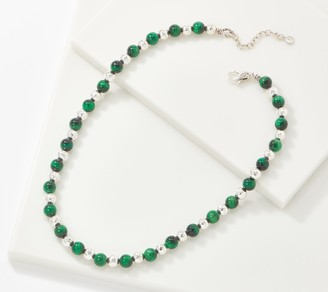 "JAI Sterling Silver Hammered & Gemstone Bead 18"" Necklace"