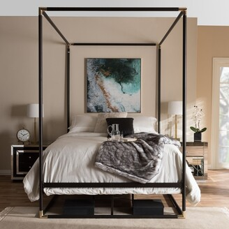 Baxton Studio Industrial Black Canopy Bed by Size - Queen