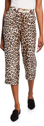 La Prestic Ouiston Miami Animal Print Silk Capri Pants