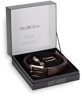 Saks Fifth Avenue Genuine Crocodile Belt & Keychain Gift Set