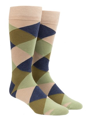 Tie Bar Rohrer Plaid Olive Green Dress Socks