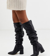 London Rebel wide fit pointed block heel knee boots