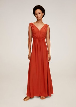MANGO Bows long dress orange - 2 - Women