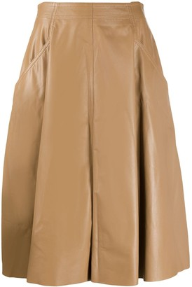 Drome Flared Leather Skirt