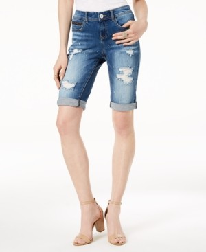 INC International Concepts Inc Curvy-Fit Ripped Bermuda Shorts, Created for Macy's