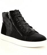 Steve Madden Earnst Velvet Side Zip Satin Lace High-Top Sneakers