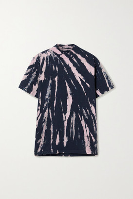 LES TIEN Tie-dyed Cotton-jersey T-shirt - Navy