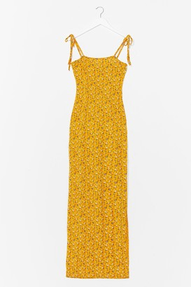 Nasty Gal Womens Tie and Hold It Together Floral Maxi Dress - Yellow