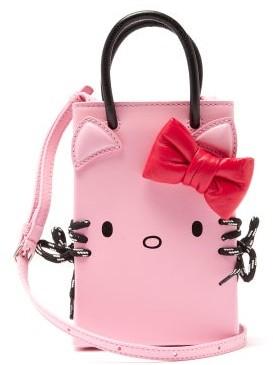 Balenciaga Hello Kitty Shopping Phone Holder Leather Bag - Pink Multi