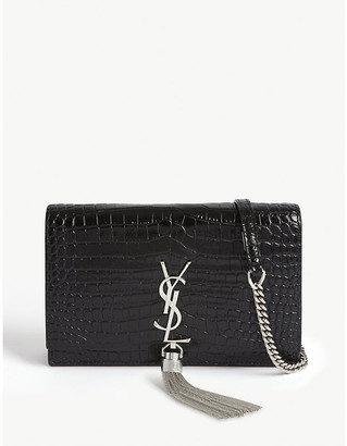 Saint Laurent Kate monogram crocodile-embossed leather wallet-on-chain