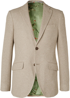 Etro Cream Slim-Fit Woven Cotton Blazer