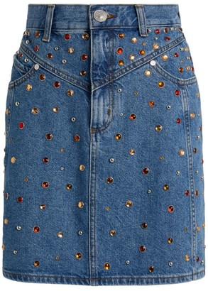 Sandro Paris Jewelled Denim Mini Skirt
