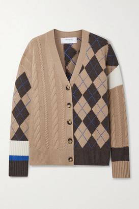 La Ligne Patchwork Cable-knit Cashmere Cardigan - Camel