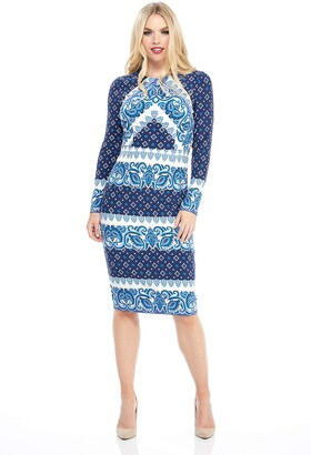 Maggy London Women's Petite Printed Jersey Long Sleeve midi Sheath