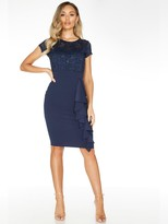 Quiz Navy Lace Sweetheart Neck Cap Sleeve Midi Dress With Scuba Crepe Skirt