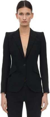 Alexander McQueen Leaf Crepe Single Breast Fitted Jacket