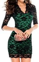 Moonpin Women's Sexy V Neck Lace Midi Bodycon Pencil Dress Plus Size S