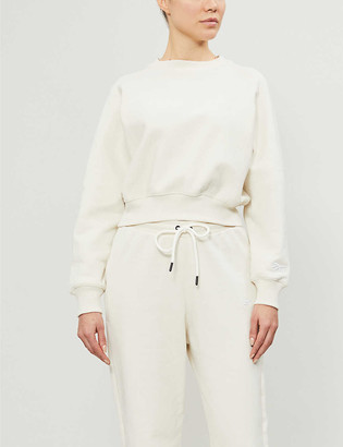 Reebok x Victoria Beckham Cropped cotton-knit sweatshirt