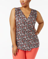 MICHAEL Michael Kors Size Brooks Floral-Print Wrap Top