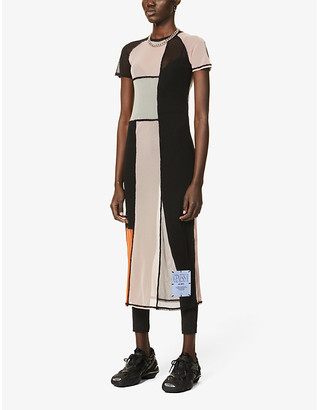 McQ Genesis II patchwork mesh midi dress