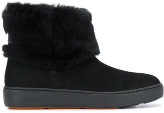 Santoni Fur-Trimmed Snow Boots