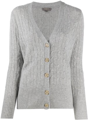 N.Peal cable V-neck cashmere cardigan