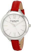Stuhrling Original Women's 975.02 Vogue Stainless Steel Watch with Red Leather Strap