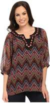 Roper 9905 Aztec Printed Georgette Peasant Top