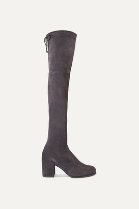 Stuart Weitzman Tieland Stretch-suede Over-the-knee Boots - Dark gray
