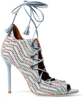 Malone Souliers Leather And Embroidered Canvas Sandals - Light blue