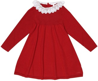 Chloé Kids Lace-trimmed cotton and wool dress