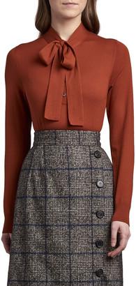 Dolce & Gabbana Bow-Neck Wool Knit Cardigan