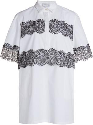 Giambattista Valli Lace Detail Cotton Poplin Dress