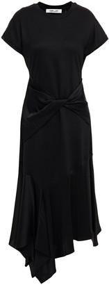 Diane von Furstenberg Giovanna Asymmetric Paneled Satin And Stretch-ponte Midi Dress