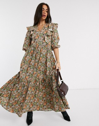 Y.A.S maxi dress with ruffle detail in ditsy floral