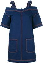 MSGM cold shoulder denim dress - women - Cotton - 44