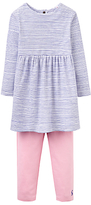 Joules Baby Joule Christina Floral Dress and Striped Leggings Set, Blue/Pink