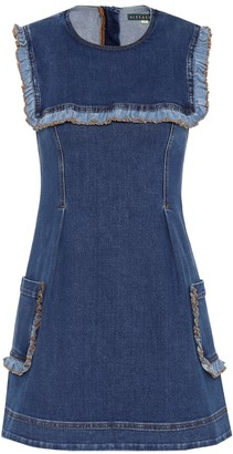 ALEXACHUNG Ruffled denim dress
