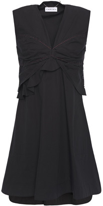 Carven Frayed Pleated Cotton-poplin Mini Dress