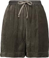 Rick Owens Cotton canvas-trimmed velvet shorts