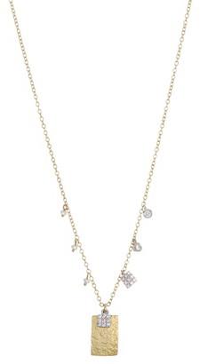 Meira T 14K Yellow Gold Pave Diamond Flat Pendant Necklace