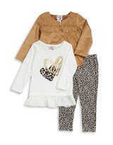 Little Lass Girls 2-6x Three-Piece Jacket Top and Leggings Set
