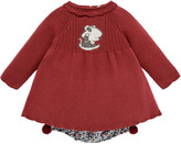Carrera Pili Mouse Intarsia Long-Sleeve Dress w/ Floral-Print Bloomers, Size 3M-2