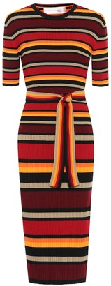 Victoria Victoria Beckham Striped wool-blend midi dress
