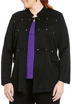 Ming Wang Plus Notch Collar Gunmetal Embellished Jacket