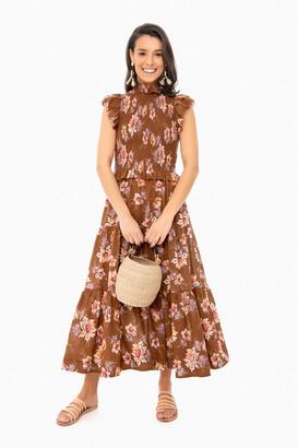 Sea New York Toffee Sylvie Smocked Dress